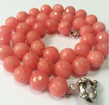"""Pretty 8mm Pink Morganit Faceted Round Bead Gemstone Necklace18"""""""
