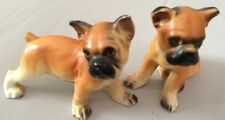 Vint BOXER Dog Figurine Salt & Pepper SHAKER FIGURINE Porcelain HANDMADE Japan*