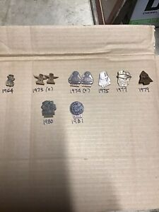 Lot of 10 Indianapolis 500 BRONZE Badge Pins 1960's 70's 80's