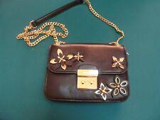 Michael Kors Flowers Pouches Medium Camera Crossbody Leather Bag Black New NWOT