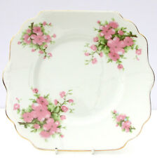 VINTAGE BONE CHINA Floral Pink Flowers Cake Plate