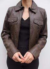 Barneys Brown Casual Bomber Moto Leather Biker Short Jacket Size 12 40 US 8 New