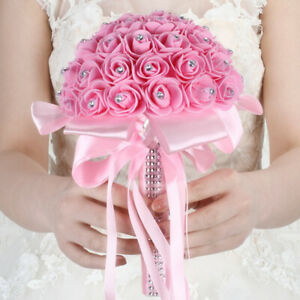 Wedding Bouquet Bridal Bride Artificial Foam Fake Rose Flower Decor #D10