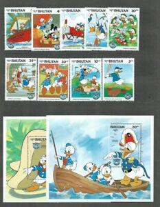 Bhutan - Mail Yvert 648/56 + Hb 108/9 MNH Walt Disney