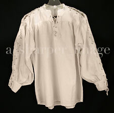 Celtic Laced Sleeves & Neck Full Sleeves Shirt Beige Pirate Cosplay Reenactment