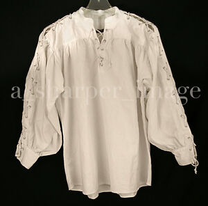Celtic Laced Sleeves & Neck Unisex Shirt Beige Pirate Cosplay Reenactment Ren Fa