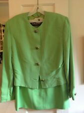 Louis Feraud Bright Green Skirt Suit With Jewel Buttons Size 10