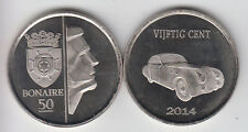 BONAIRE 50 Cents 2014, famous cars, Talbot Lago, unusual coinage
