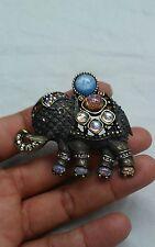 Beautiful Jay Strongwater faux opal crystal bronze tone elephant pin brooch
