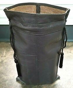Vintage UNUSED BROWN LEATHER WINE BAG CARRIER TOTE 2 BOTTLES Birks Canada