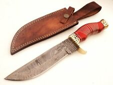 "DKC-814 SUJA Bowie Damascus Steel Knife 12.5"" Overall 7.5"" Blade 18 oz Hand Made"