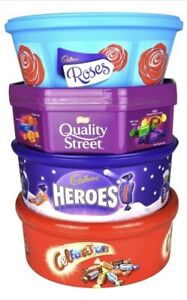 4 Christmas Chocolate Tubs -Roses, Heroes, Quality Street AND Celebrations Tub
