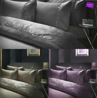 Luxury Crushed Velvet Diamante Silver Grey Gold Duvet Quilt Cover Bedding Sets