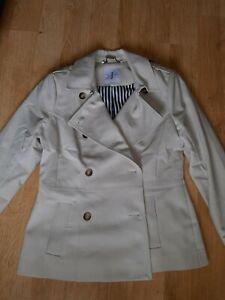 Ladies Jasper Conran Cream Beige Coat Jacket Rain Trench Size 14 Vgc