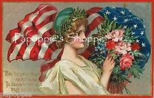 Vintage 4th of July Fabric Block Memorial Day Flag