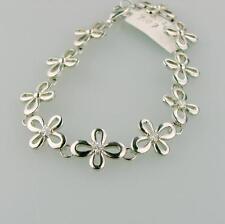 Stainless Steel Flower with Diamonds Tennis Bracelet