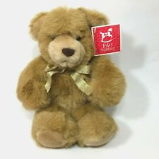 "Fao Schwarz Teddy Bear 12"" Plush Stuffed Animal Tan with Gold Glitter Ribbon"