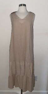 New Francesca Bettini 100% Linen Midi Long Dress Made In Italy M