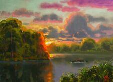 Florida Oil Painting Highwaymen Like Art Original Signed Landscape Boat MAX COLE