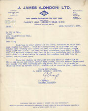 J.JAMES (LONDON) L.T.D. RILEY HEADED PRINTED LETTER, DATED 24th NOVEMBER 1954,