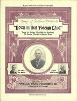 BLACK AMERICANA Sheet Music DOWN IN THAT FOREIGN LAND 1907 Reprint Warfield Bros
