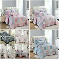 3 Piece Patchwork Bedspread Quilted Throw Double & King Size Printed Bedding Set