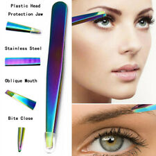 Stainless Steel Slant Tip Multi-function Face Hairs Removal Eyebrow Tweezers b