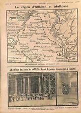 Map Carte Alsace Altkirch Rhin/Enfants Ecoles Invalides Paris Drapeau WWI 1914