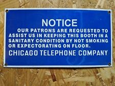 Chicago Telephone Company Telephone Porcelain Sign Bell utility Phone booth