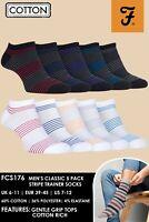 Farah - Lot de 6 Homme Coton Courtes Basses Sport Chaussettes avec Rayures