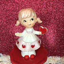 New ListingVtg Lefton Valentine Pigtail Girl In Pink Dress Holding Red Heart Figurine Japan