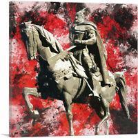 Skanderbeg Monument - George Castriot Albania Red Splatter Canvas Art Print