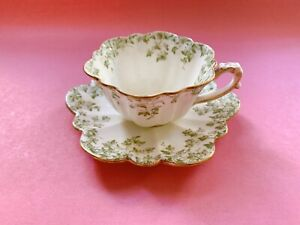 Foley Shelley Wileman Green Ivy Empire Trailing Cup Saucer Set Duo Vintage