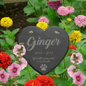 Personalised Engraved Slate Heart Pet Memorial Grave Marker Plaque Any Message