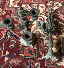 More details for pair of antique vintage candlesticks candleholders candelabra patina rococo