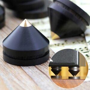 4Pcs Ebony Wooden HIFI Speaker Isolation Spike Cone Copper Feet 23 mm +Base Pad