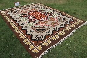 Large Wool Kilim Navajo Southwestern Bohemian Rug 8'x10'ft Handmade Rug Antique