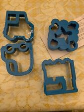 Pottery Barn Kids Set/4 Sandwich Cookie Cutters Transportation Car Plane Blue