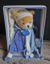 Doudou et compagnie Petit Chou ours plat attache tétine bleu blanc étoile Neuf