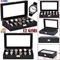 12 Grid Wooden Watch Box Jewelry Display Storage Organizer Velvet Watch Case New