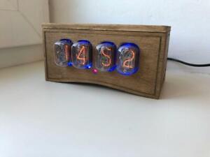 Nixie Tube Clock IN-12 Retro Vintage steampunk. Wood enclosure. Best gift.