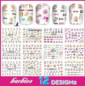 Nail Art Water Decals Stickers Transfers Barbie Doll Bows Hearts Neon 👩🏻🦰