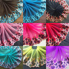 Peacock Feather Embroidery Lace Trim Floral Tulle Ribbon Wedding Fabric Sewing