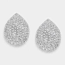 """Clip on 1 1/4"""" silver clear stone teardrop cluster clip on earrings"""
