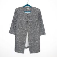CAbi #5299 Size Medium Women's Gray The Times Long Jacket Hook Closure Unlined