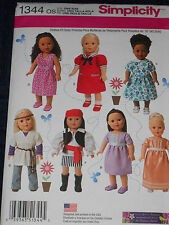 "18"" Doll Clothes Sailor Dress Gown Mod Pirate Simplicity 1344 Sewing Pattern"