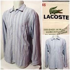LACOSTE Mens Blue Stripe Long Sleeve Button Front Shirt SZ 45
