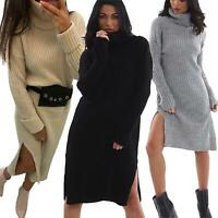 Women Ladies High Roll Neck Side Slit Chunky Knitted Oversized Midi Jumper Dress