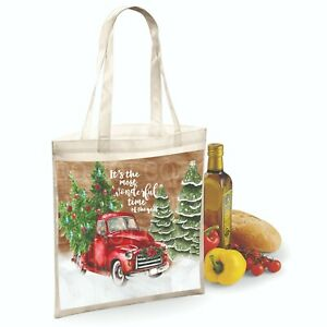 Christmas Tote Bag Red Truck most wonderful time of the year