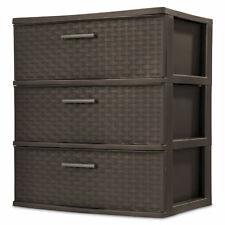 Sterilite 25306P01 3 Drawer Wide Weave Tower - Brown